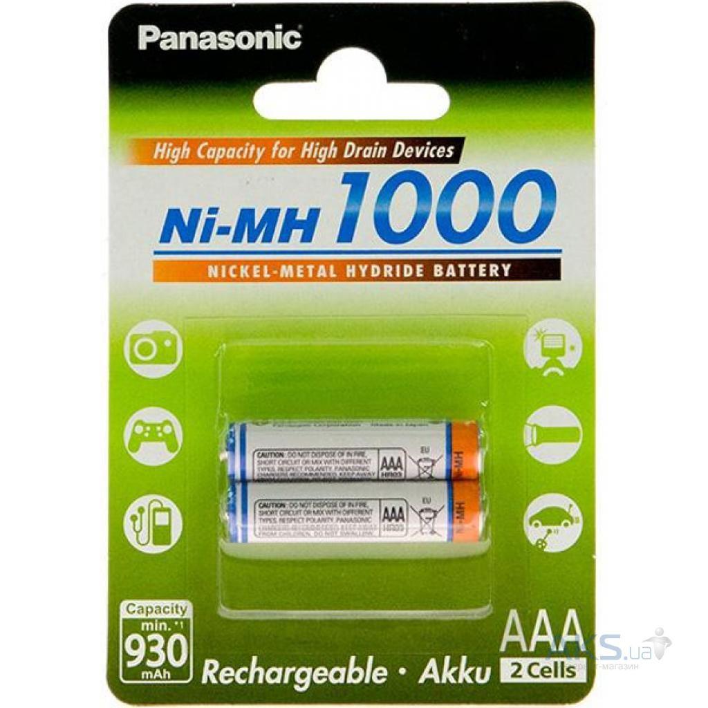 Элемент питания Panasonic High Capacity AAA 1000 mAh NI-MH * 2 (BK-4HGAE/2BE)