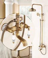 Колонна душевая Со Смесителем Для Ванны бронзовая душевая  и большой лейкой для верхнего душа  Deco C11 Бронза