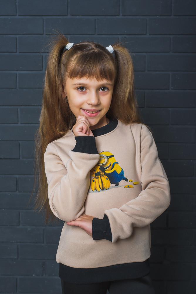 """Стильный детский свитшот """"Миньоны"""" бежевый"""