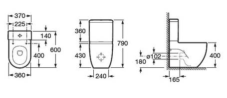Чаша унитаза ROCA MERIDIAN-N пристенного напольного (в уп.) A342248000, фото 2