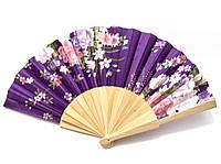 Веер из дерева и шелка фиолетовый