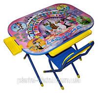 Детская складная мебель  «Дошкольник», стол и стул «Ну погоди» (синий).