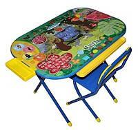 Комплект детской складной мебели «Дошкольник», стол и стул «Маугли» (синий)