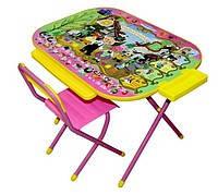 Комплект детской складной мебели «Дошкольник», стол и стул «Чиполлино» (розовый).
