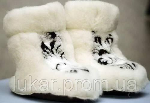 Женские тапочки из овечьей шерсти