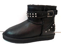 Угги женские Ugg Original мини натуральные кожаные черные Ug0031