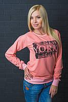 Спортивная кофта с печатью New York персик