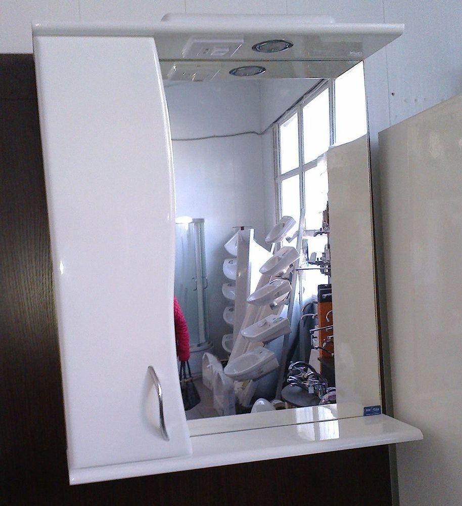 Зеркало Z01Стандарт-55 белое (553*167*703) левое с подсветкой, ТМ Николь