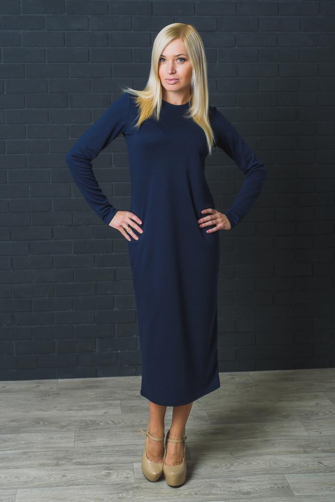 Платье женское свободного кроя темно-синее