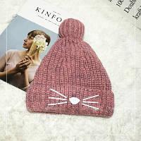 Женская теплая вязаная шапка с бубоном (помпоном) Кошечка розовая