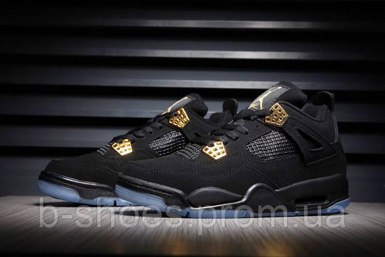 Мужские кроссовки Nike Air Jordan Retro 4 (Black/Gold)