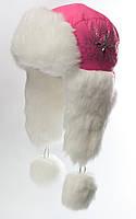 """Шапка-ушанка для девочки """"Метелица"""" с камнями и меховыми ушами розовая"""