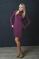 Женское трикотажное платье бордо, фото 1
