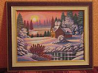 """Картина """"Зимний рассвет"""" (вышита крестиком)"""