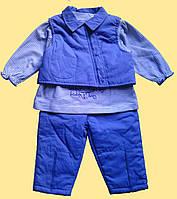"""Теплый детский костюм для девочки """"Пеппи"""": блуза, штаны, жилет"""