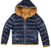 Куртка демисезонная стеганные полосы, с капюшоном, горчичная отделка мальчик темно-синий MKCO00040 Antonio Mor