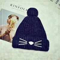 Женская теплая вязаная шапка с бубоном (помпоном) Кошечка синяя