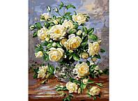 Картина по номерам Mariposa Букет белых роз Худ Уильямс Альберт  40 х 50 см