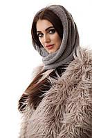 Шапка-шарф женский зимний серый