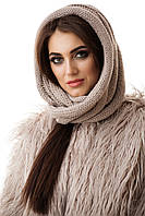 Шапка-шарф женский зимний капуччино