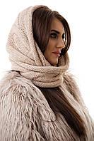 Шапка-шарф женский зимний бежевая