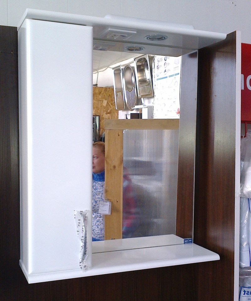 Зеркало Z04 Стандарт-60 белое (606*163*703) левое с подсветкой, ТМ Николь