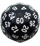 Кубик d60 (чёрный)  (Dice d60 Opaque)