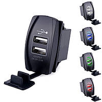 Автомобильное зарядное USB адаптер LED, сокет 2 USB с заглушкой подсветкой