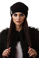Шапка черная женская вязанная с защипом на флисе