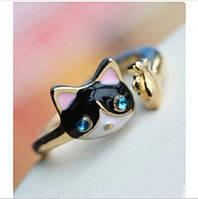 Колечко котёнок чёрный с рыбкой и стразами