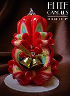 Cвеча c колокольчиками, красивой новогодней раскраски, классно подходит для подарков