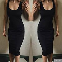 Молодежное платье миди-майка микродайвинг черное