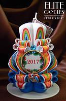 Свеча новогодняя 2017, ручной работы, материал парафин - П2, отличный подарок родным и близким