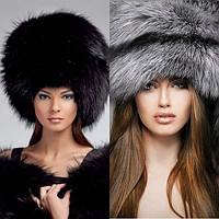 Меховые зимние женские шапки из меха лисы