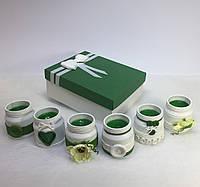 Набор из 6 свечей ручной работы с ароматом зеленого яблока и ландыша