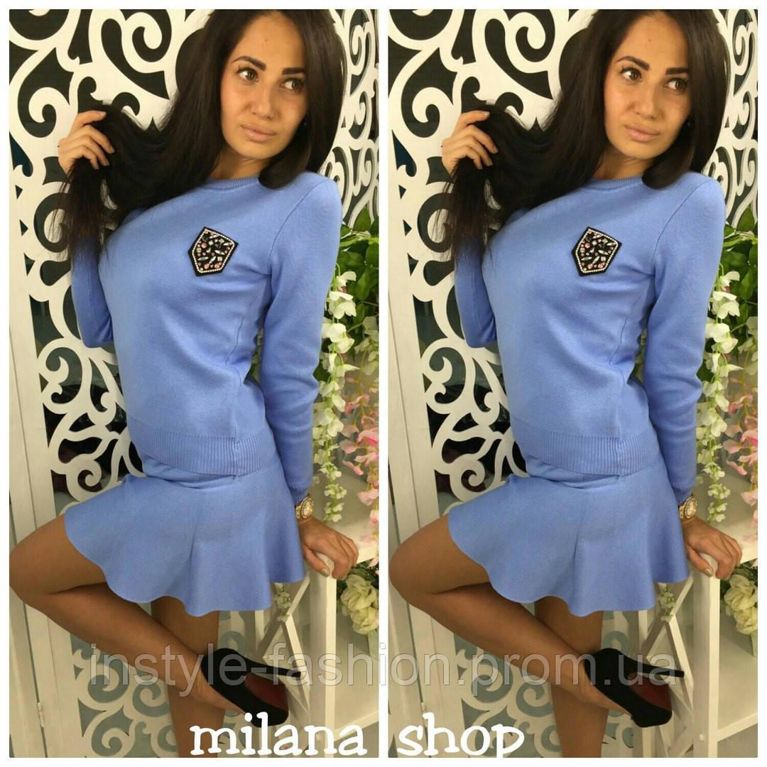 64a0f5fc832 Очень модный костюм кофта и юбка ткань мелкая машинная вязка голубой ...