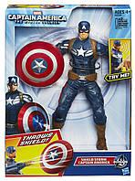 Говорящая игрушка Капитан Америка 25СМ + Летающий щит, Hasbro