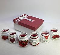 Набор из 6 свечей ручной работы с ароматом клубники