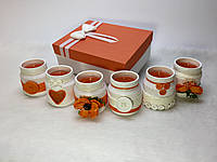 Набор из 6 свечей ручной работы с ароматом апельсина
