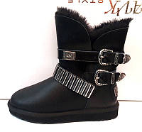 Угги женские Ugg Original кожаные черные с пряжками Ug0025