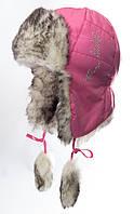 """Красивая зимняя ушанка для девочки """"Забава""""  розовый"""