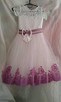 Детское нарядное платье 6-7 лет,белое с фиолетовым