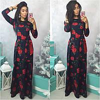 Платье в пол с пояском и цветочным принтом
