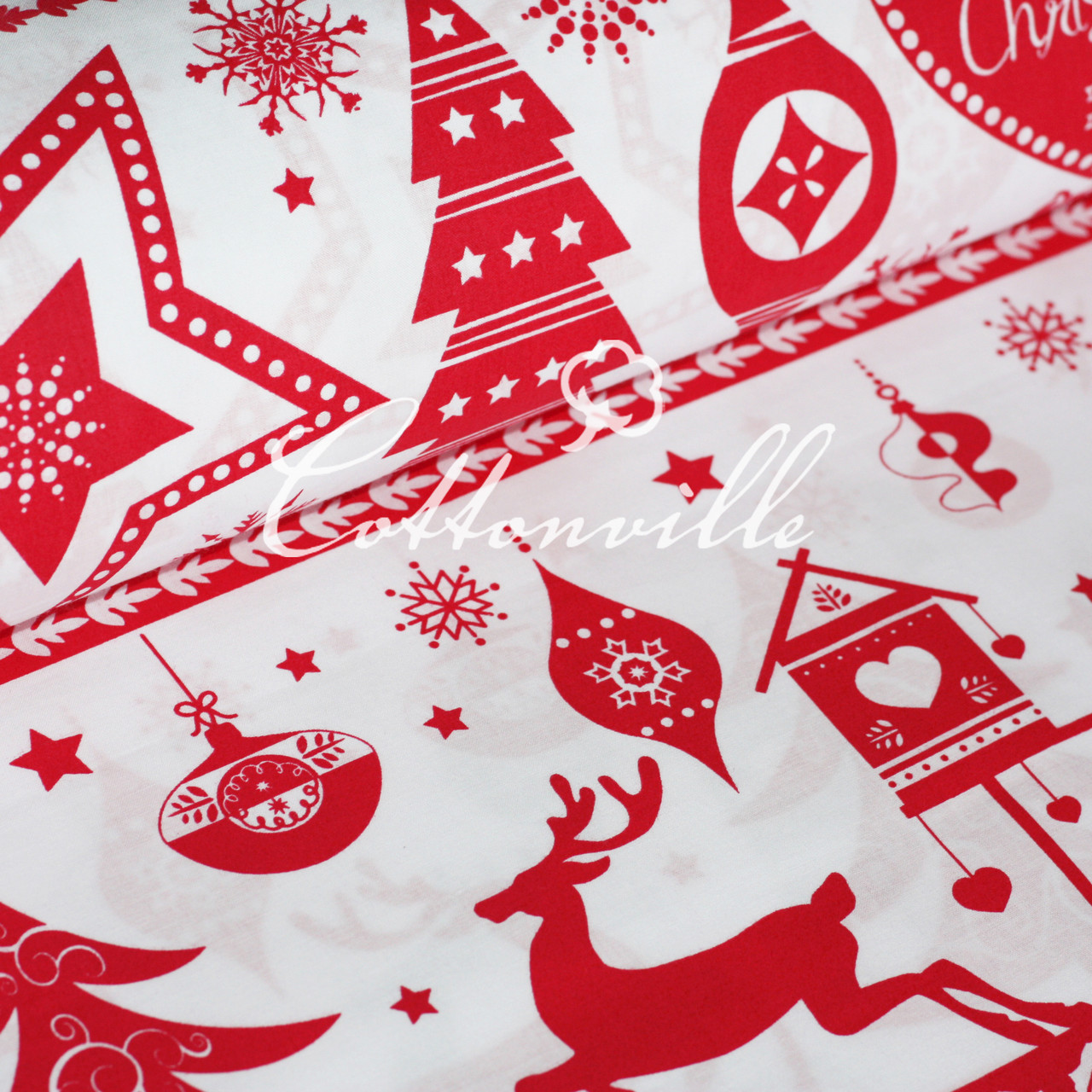 ✁ Отрезы бязи Рождественские мотивы красная