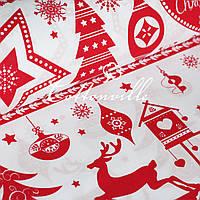 ✁ Отрезы бязи Рождественские мотивы красная, фото 1