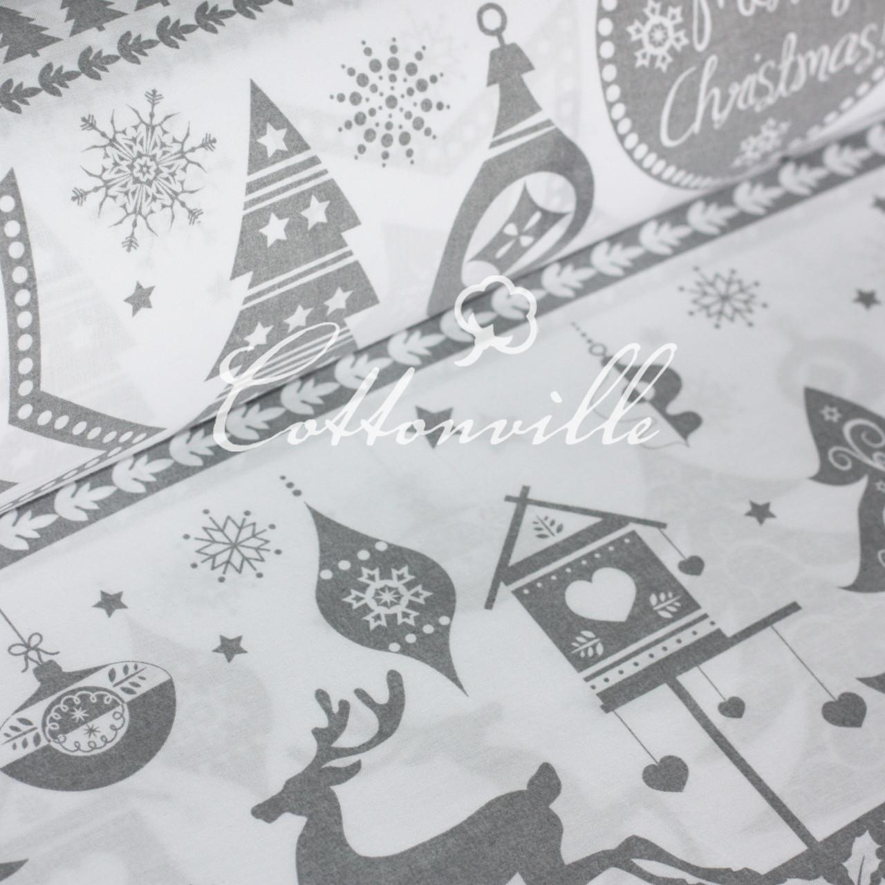 ✁ Відрізи польської бязі Різдво сіра