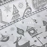 ✁ Відрізи польської бязі Різдво сіра, фото 1