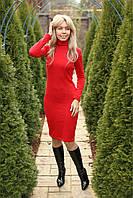 Платье гольф модное красное осень - зима