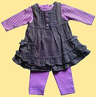 """Костюмчик розовый для девочки """"Пеппи"""": блуза, сарафан, лосины 6-9 м"""