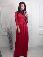 Платье в пол с пояском и гипюром на воротнике